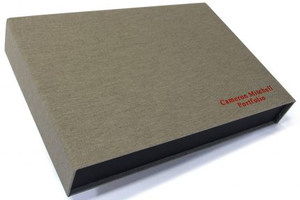 Red Foil Letterpress on Light Grey Cloth Presentation Box