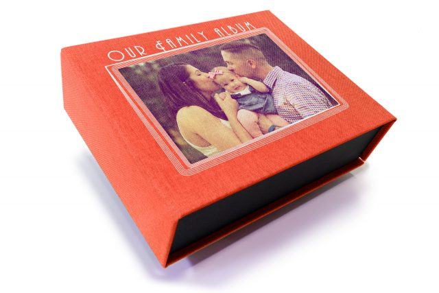 Spot Digital Print on Red Peach 4 Sided Presentation Box
