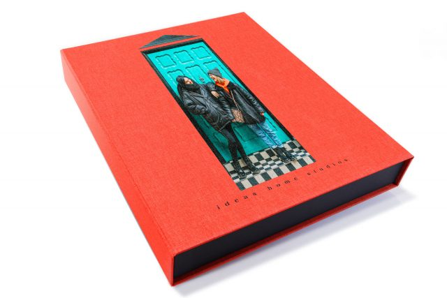 Spot Digital Print on Red Peach Cloth 3 Sided Presentation Box
