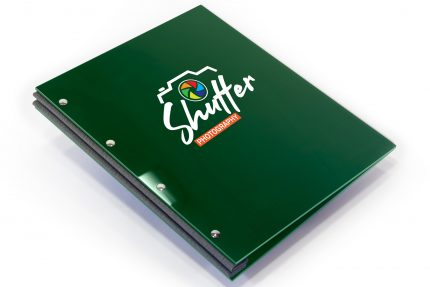 Spot Digital Print on Dark Green Acrylic Portfolio with Dark Grey Binding Hinge
