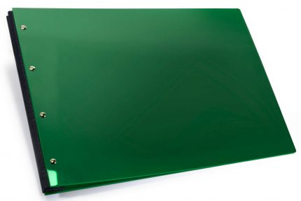 Dark Green Acrylic Portfolio with Dark Grey Binding Hinge