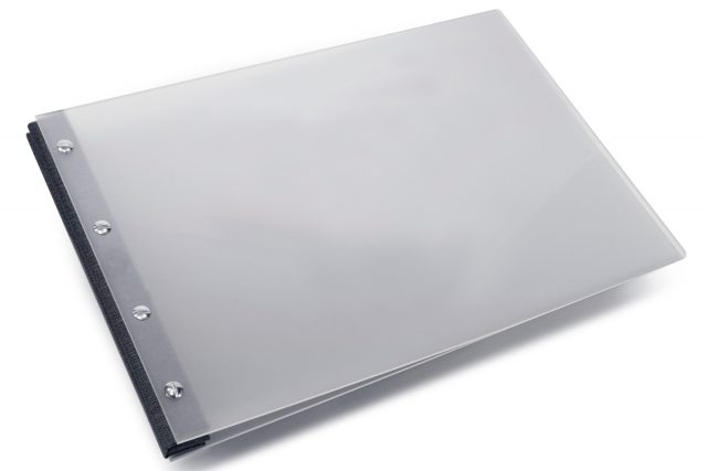 Frosted Clear Acrylic Portfolio with Dark Grey Cloth Binding Hinge
