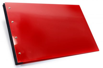 Red Acrylic Portfolio with Dark Grey Binding Hinge