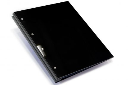 Gloss Black Acrylic Portfolio with Dark Grey Binding Hinge