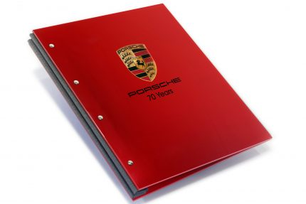 Spot Digital Print on Red Acrylic Portfolio with Dark Grey Binding Hinge