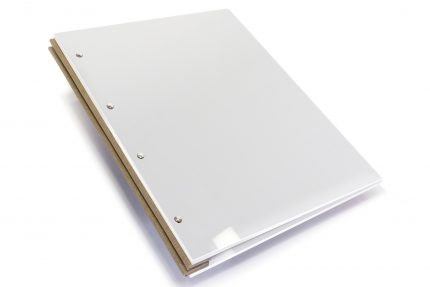 White Acrylic Portfolio with Light Brown Binding Hinge