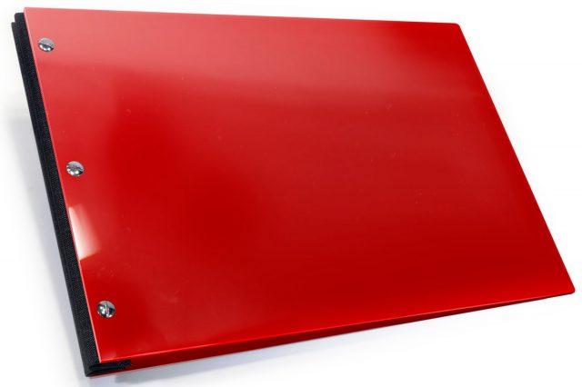 Red Acrylic Portfolio with Black Cloth Binding Hinge