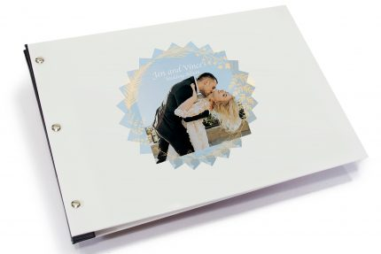 Spot Print on White Acrylic Portfolio with Black Binding Hinge