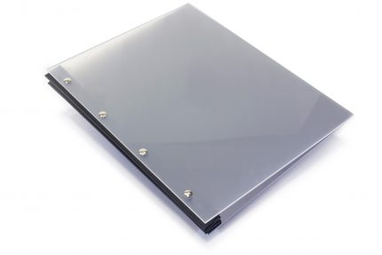 Frosted Clear Acrylic Portfolio with Black Cloth Binding Hinge