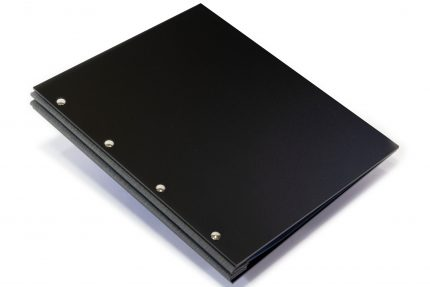 Matt Black Acrylic Portfolio with Dark Grey Cloth Binding Hinge