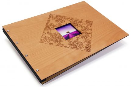 Laser Etching & Cutting on Timber Portfolio with Black Cloth Binding Hinge