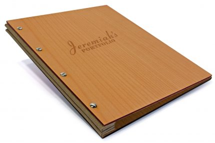 Laser Etching on Timber Portfolio with Light Brown Cloth Binding Hinge