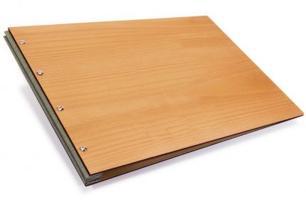 Timber Portfolio with Light Grey Cloth Binding Hinge
