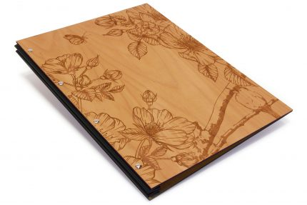 Laser Etching on Timber Portfolio with Black Cloth Binding Hinge