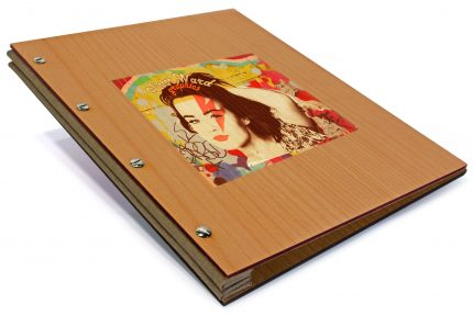 Spot Print on Timber Portfolio with Light Brown Cloth Binding Hinge