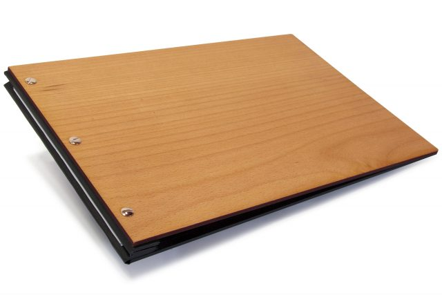 Timber Portfolio with Black Cloth Back Cover