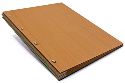 Timber Portfolio with Light Brown Cloth Binding Hinge
