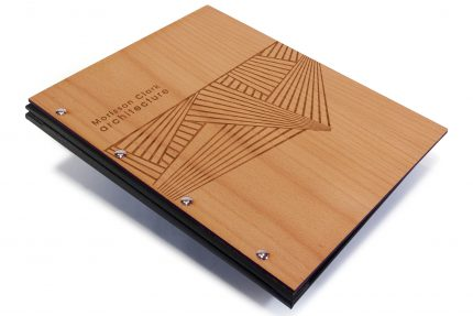 Laser Etching on Timber Portfolio with Black Cloth Back Cover