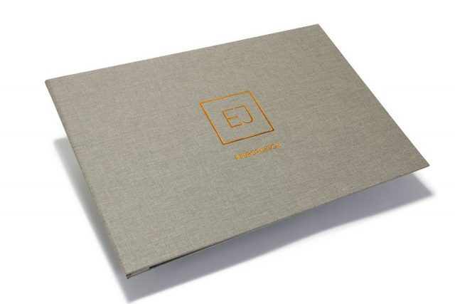 Bronze Foil Debossing on Light Grey Cloth Screwpost Portfolio