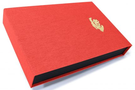 Gold Foil Debossing on Red Peach Cloth Presentation Box