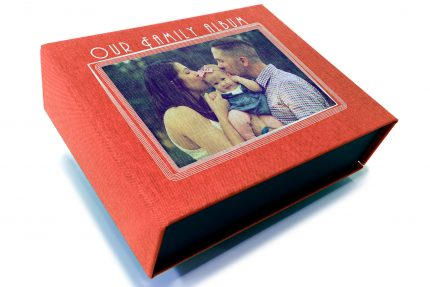 Spot Digital Print on Red Peach Cloth Presentation Box