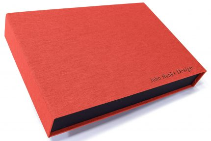 Black Foil Letterpress on Red Peach Cloth Presentation Box