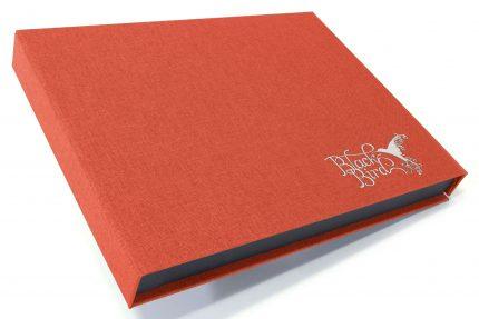 Silver Foil Debossing on Red Peach Cloth Presentation Box