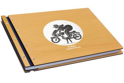 Spot Print on Timber & Leather Portfolio - Leather Hinge Colour: Blue