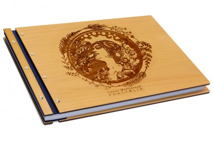 Laser Etching on Timber & Leather Portfolio - Leather Hinge Colour: Blue